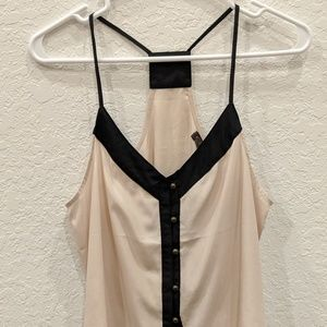 V-neck racerback top with buttons